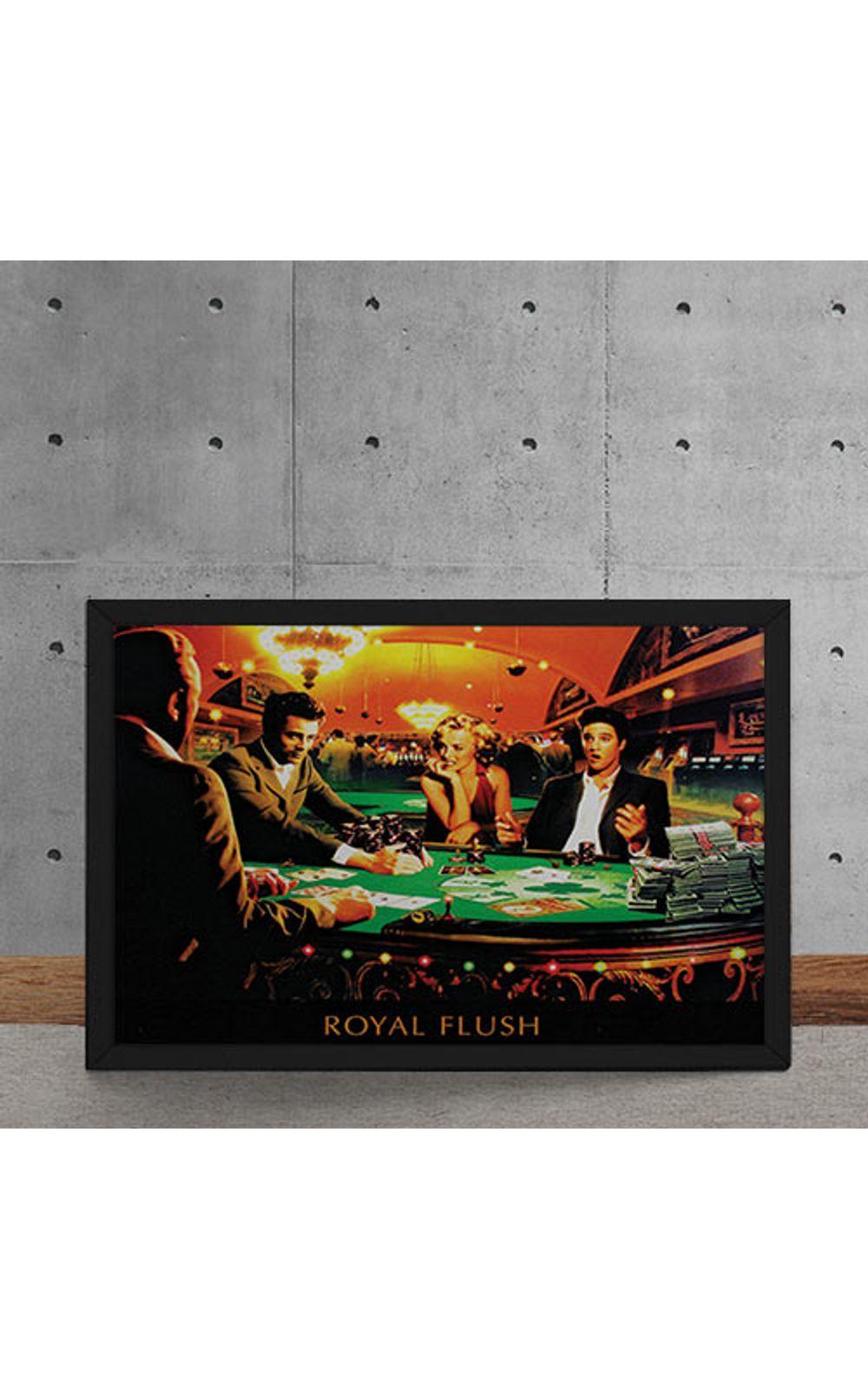 Foto 5 - Quadro Decorativo Poker Royal Flush Marylin Monroe Elvis Presley James Dean Humphrey Bogart