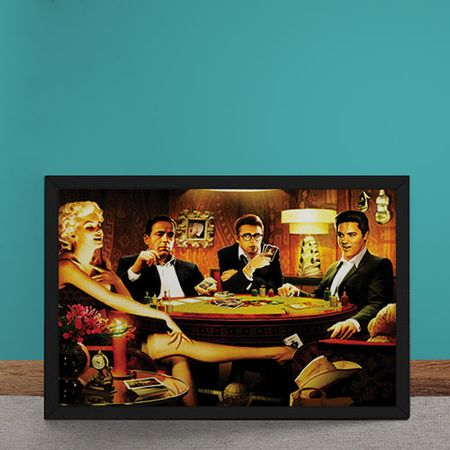 Quadro Decorativo Baralho Marilyn Monroes Elvis Presley James Dean Humphrey...