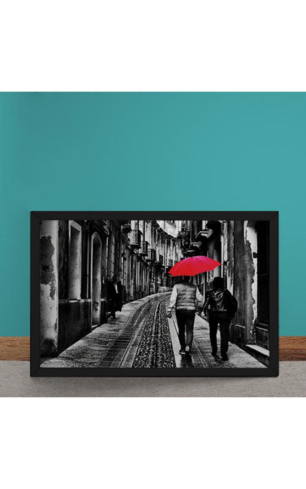 Foto 1 - Quadro Decorativo Casal do Guarda Chuva Vermelho