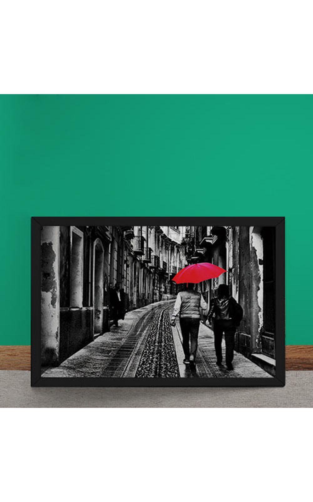 Foto 2 - Quadro Decorativo Casal do Guarda Chuva Vermelho