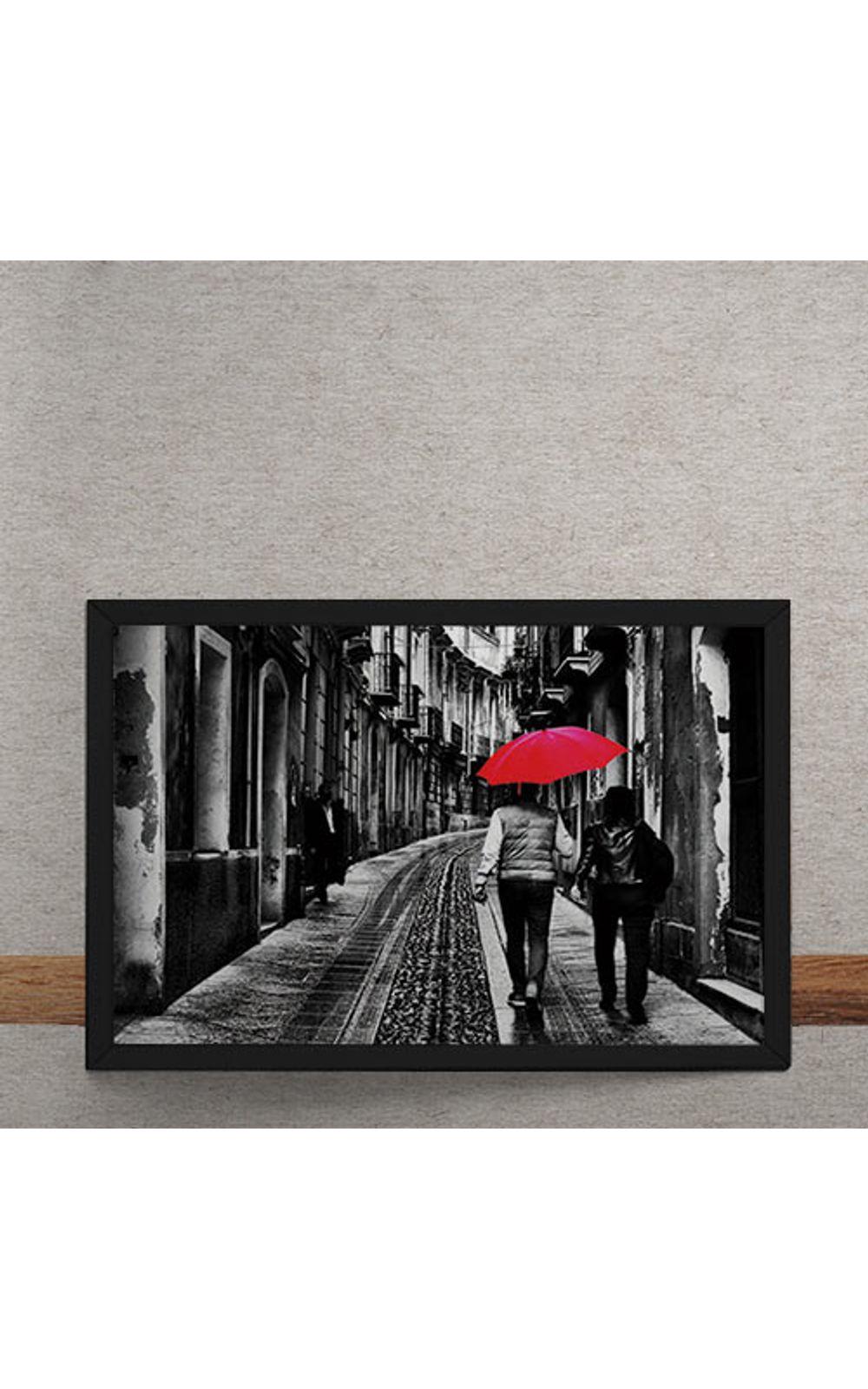 Foto 3 - Quadro Decorativo Casal do Guarda Chuva Vermelho