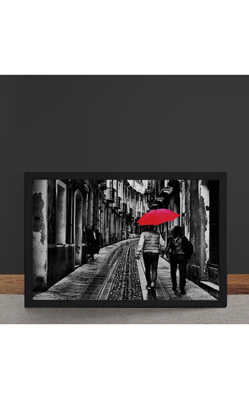 Foto 4 - Quadro Decorativo Casal do Guarda Chuva Vermelho