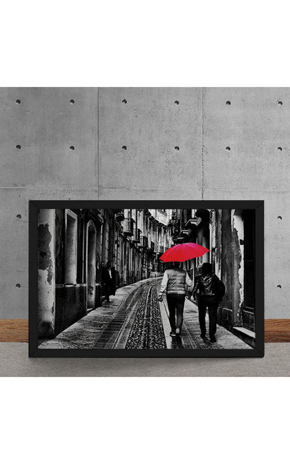 Foto 5 - Quadro Decorativo Casal do Guarda Chuva Vermelho