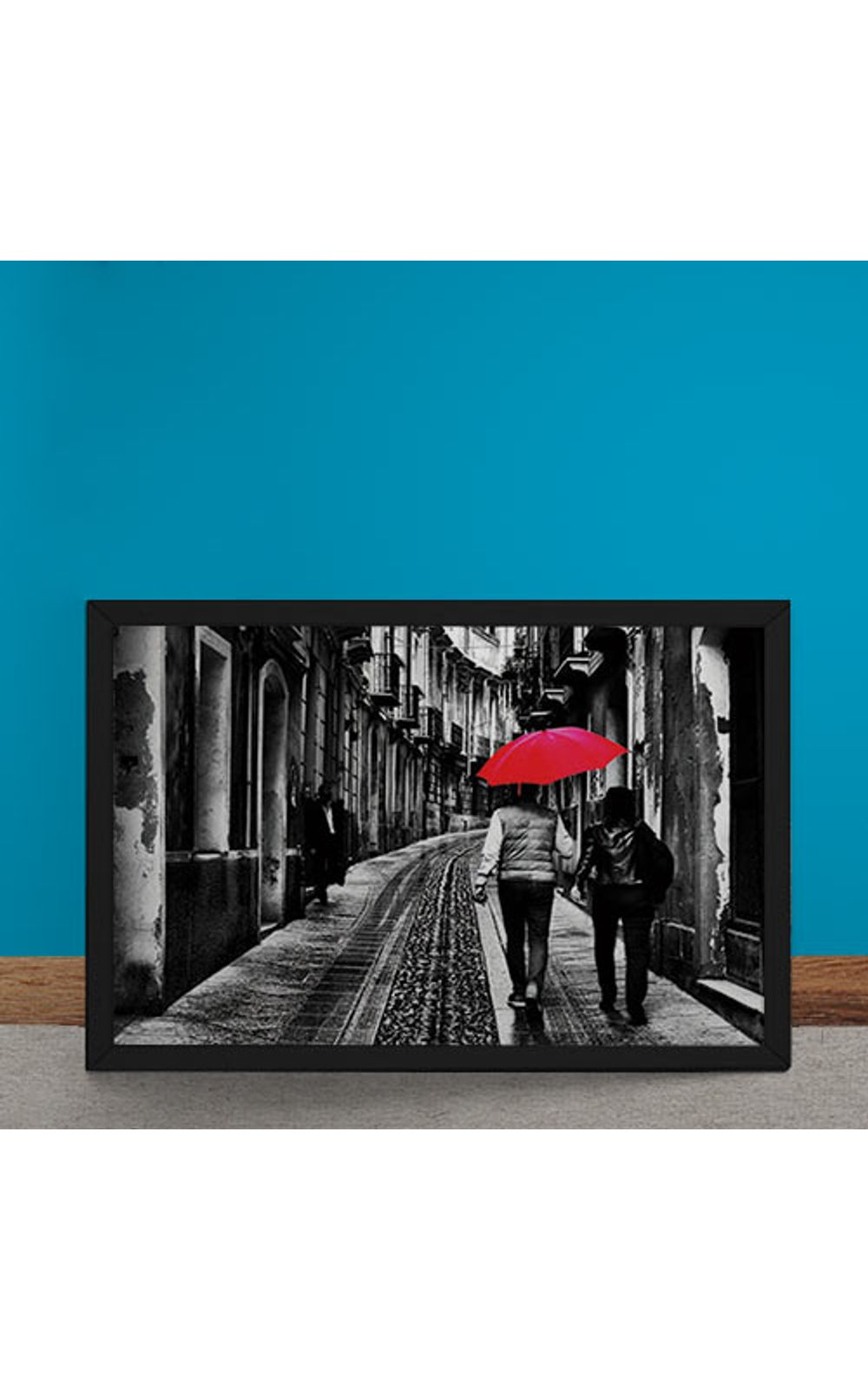 Foto 6 - Quadro Decorativo Casal do Guarda Chuva Vermelho