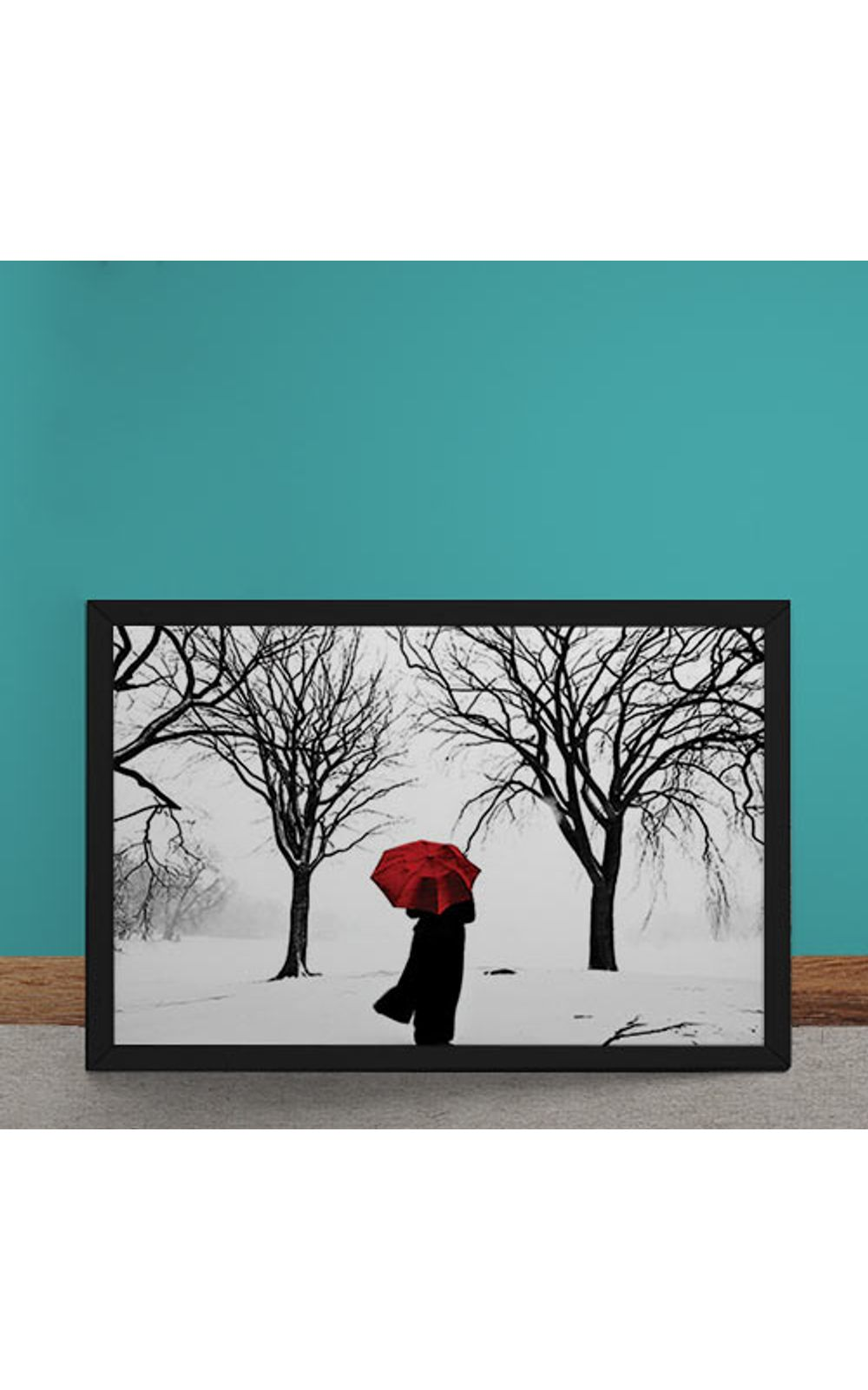 Foto 1 - Quadro Decorativo Guarda Chuva Vermelho na Neve