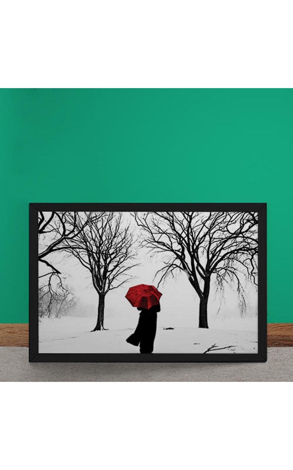 Foto 2 - Quadro Decorativo Guarda Chuva Vermelho na Neve
