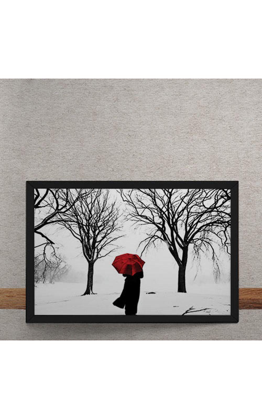 Foto 3 - Quadro Decorativo Guarda Chuva Vermelho na Neve