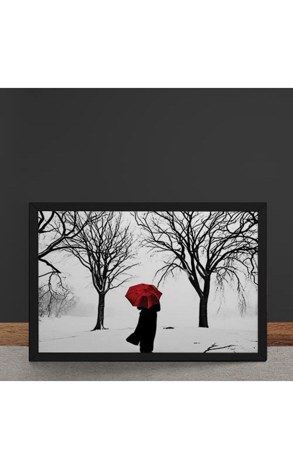 Foto 4 - Quadro Decorativo Guarda Chuva Vermelho na Neve