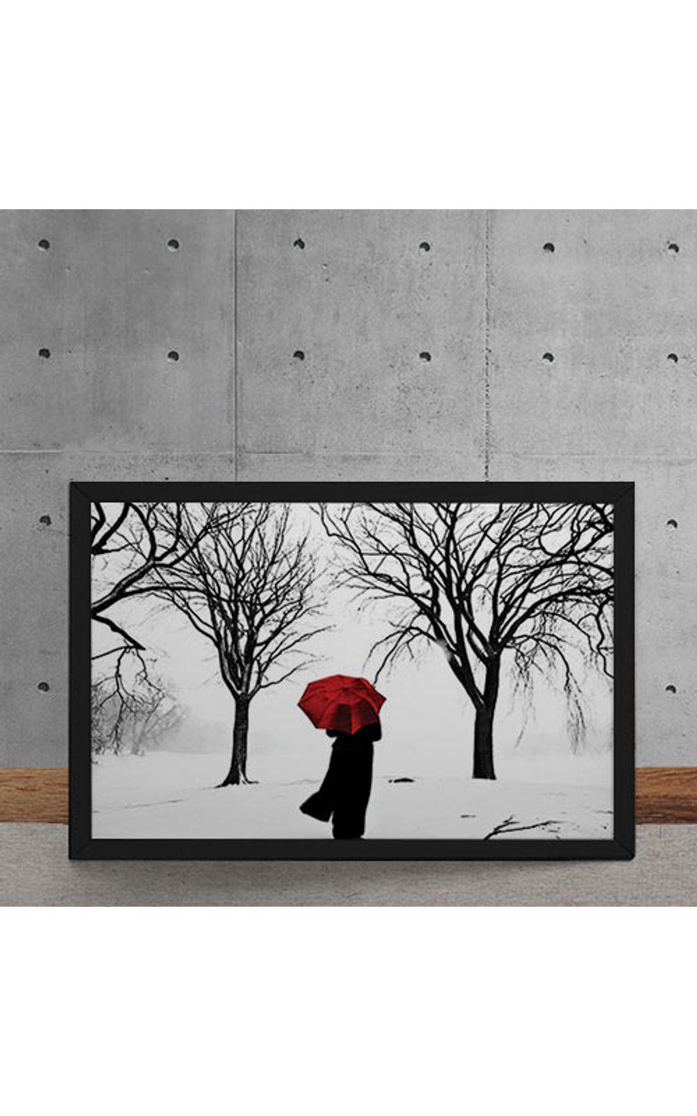 Foto 5 - Quadro Decorativo Guarda Chuva Vermelho na Neve