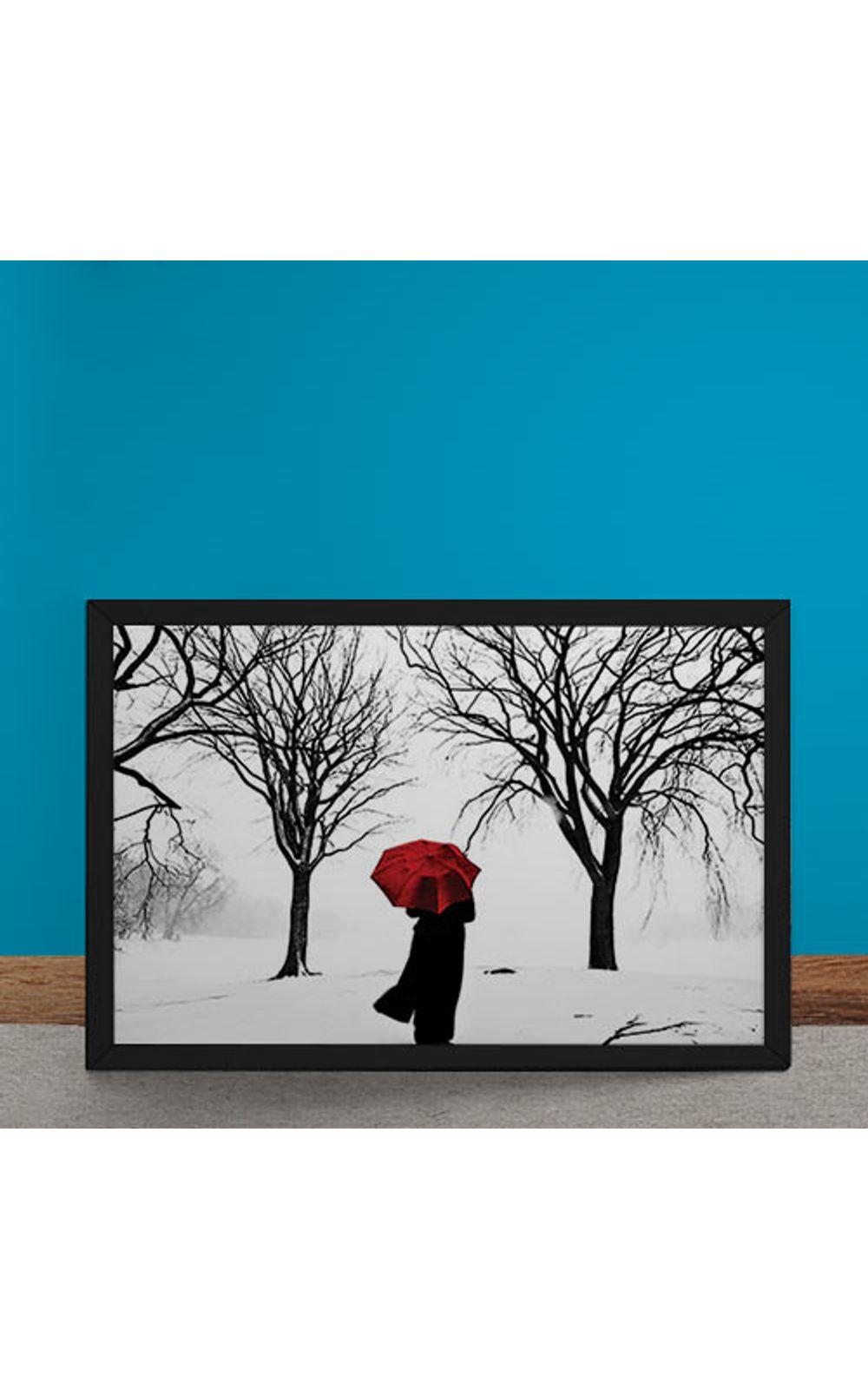 Foto 6 - Quadro Decorativo Guarda Chuva Vermelho na Neve
