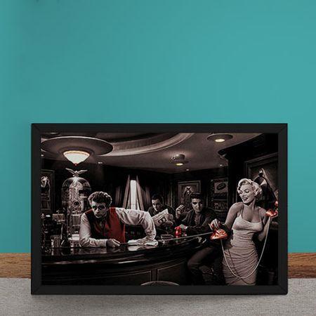 Quadro Decorativo Bar Marylin Monroe Elvis Presley James Dean Humphrey Bogart