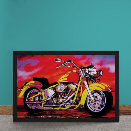 Quadro Decorativo Ilustracao Moto Custom