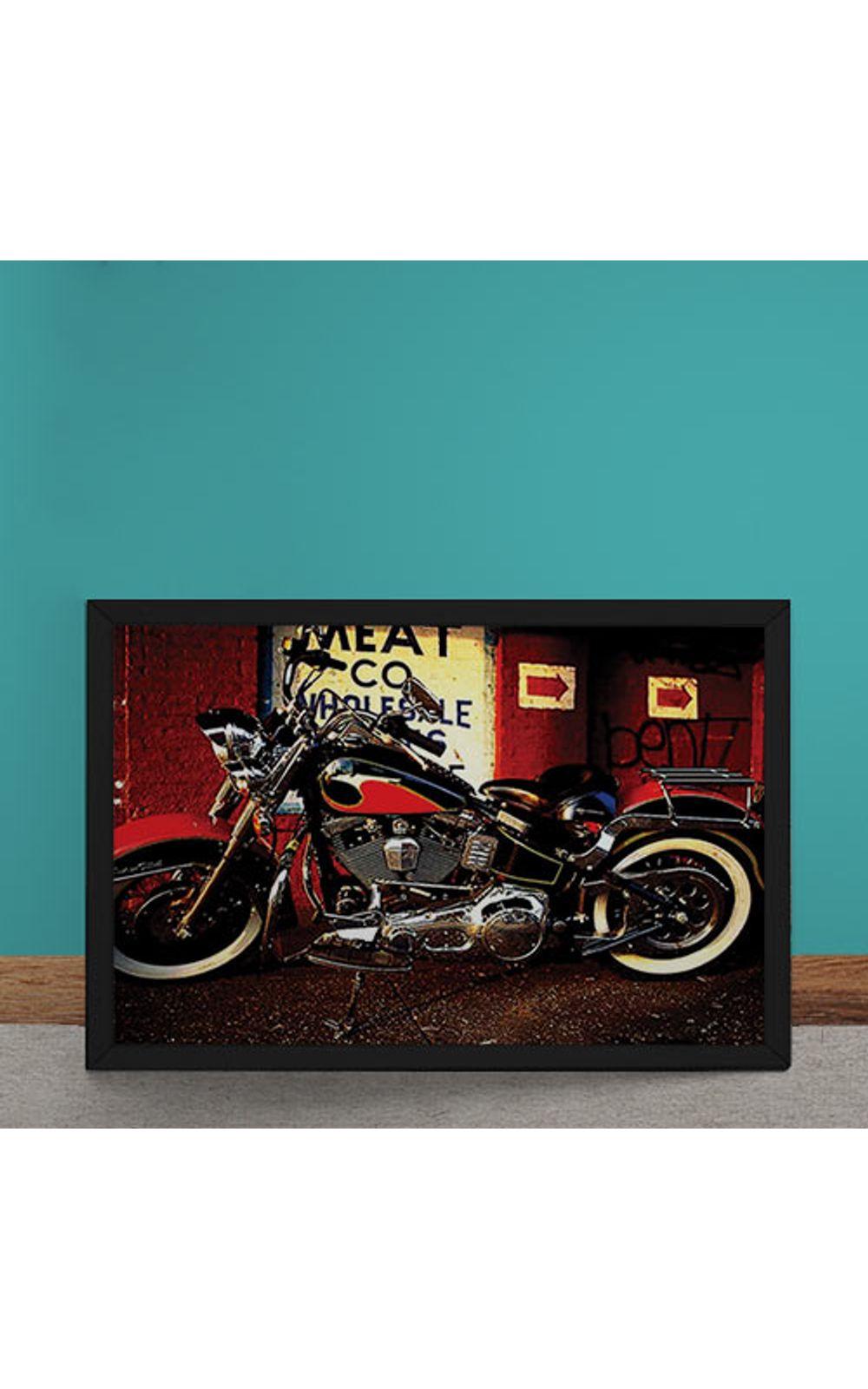 Foto 1 - Quadro Decorativo Moto Custom Vermelha