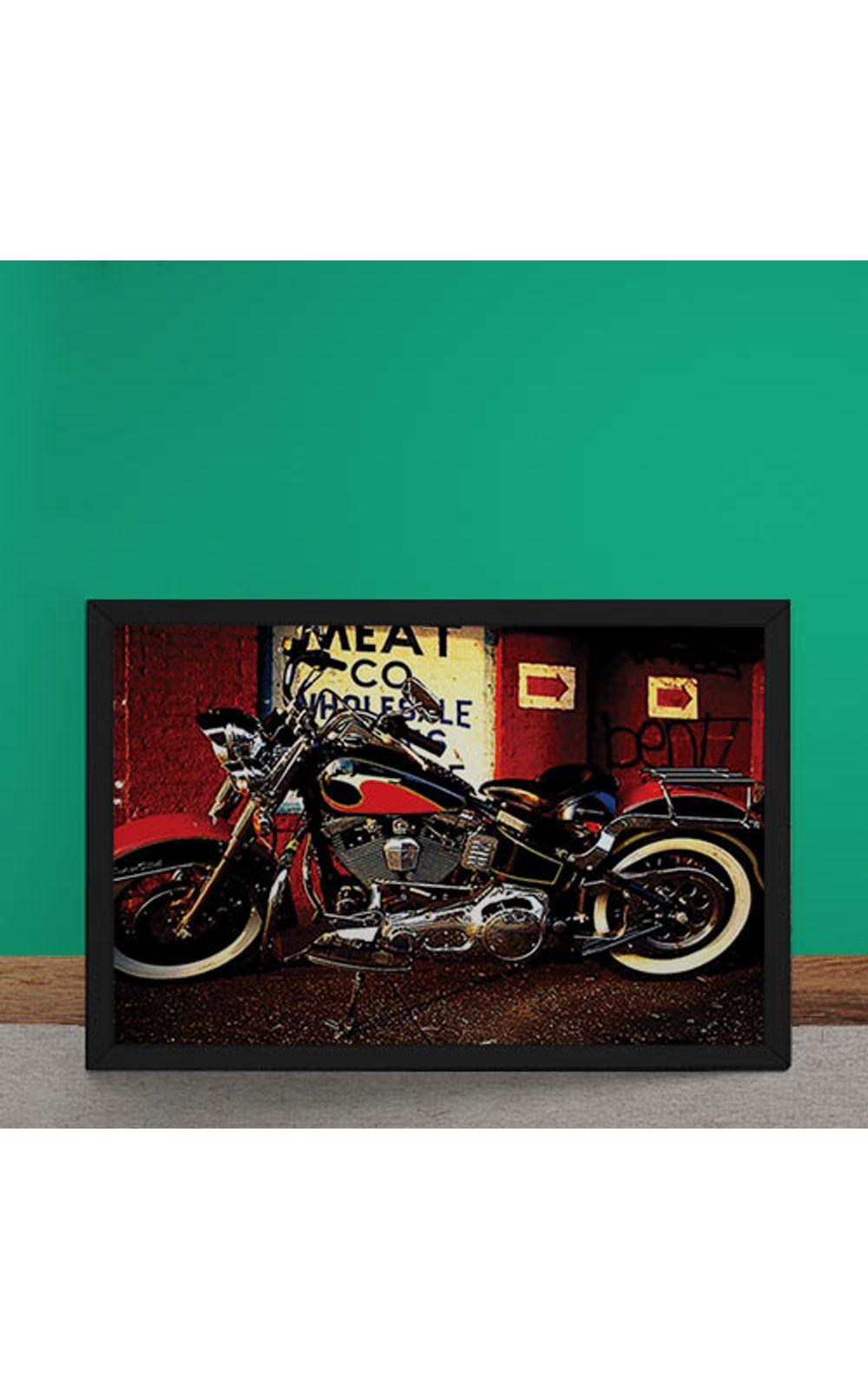 Foto 2 - Quadro Decorativo Moto Custom Vermelha