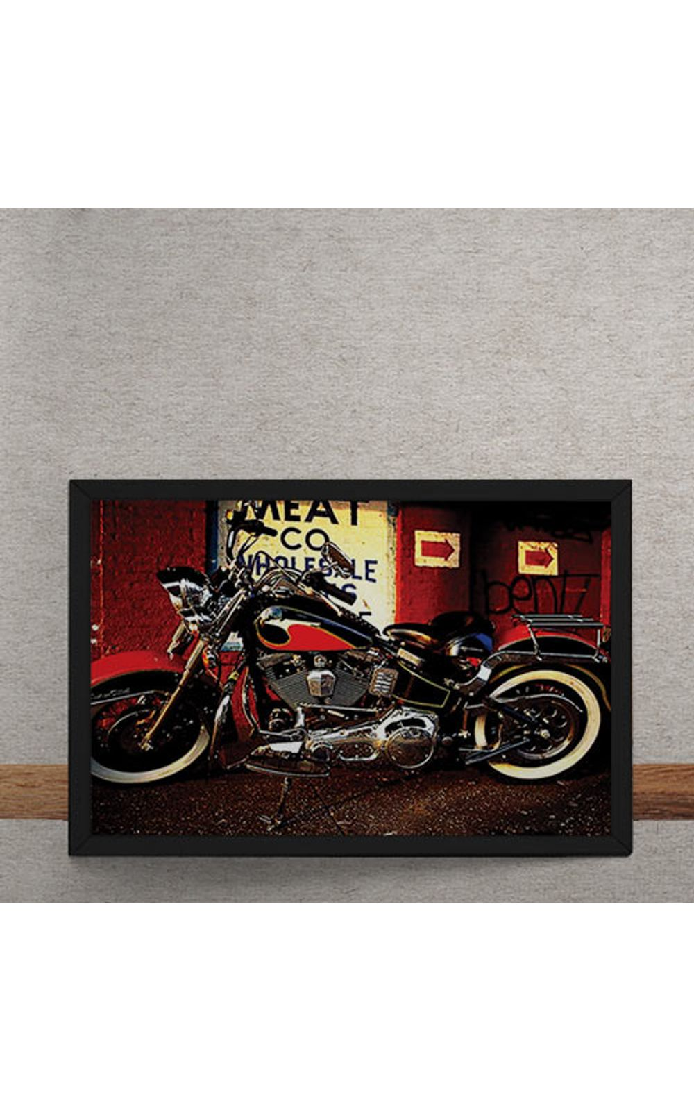 Foto 3 - Quadro Decorativo Moto Custom Vermelha