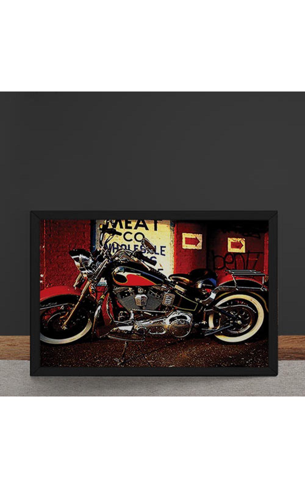 Foto 4 - Quadro Decorativo Moto Custom Vermelha