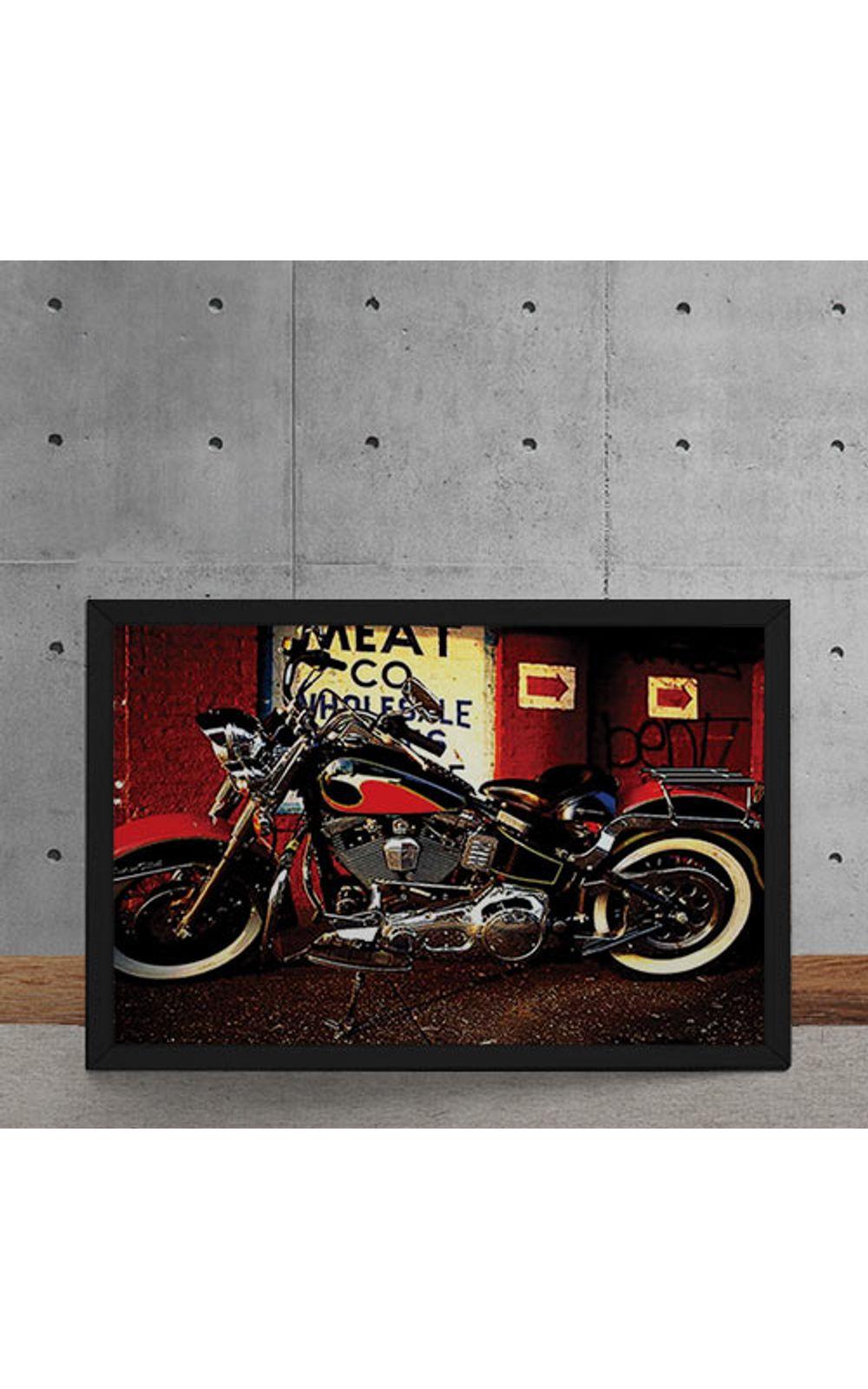 Foto 5 - Quadro Decorativo Moto Custom Vermelha