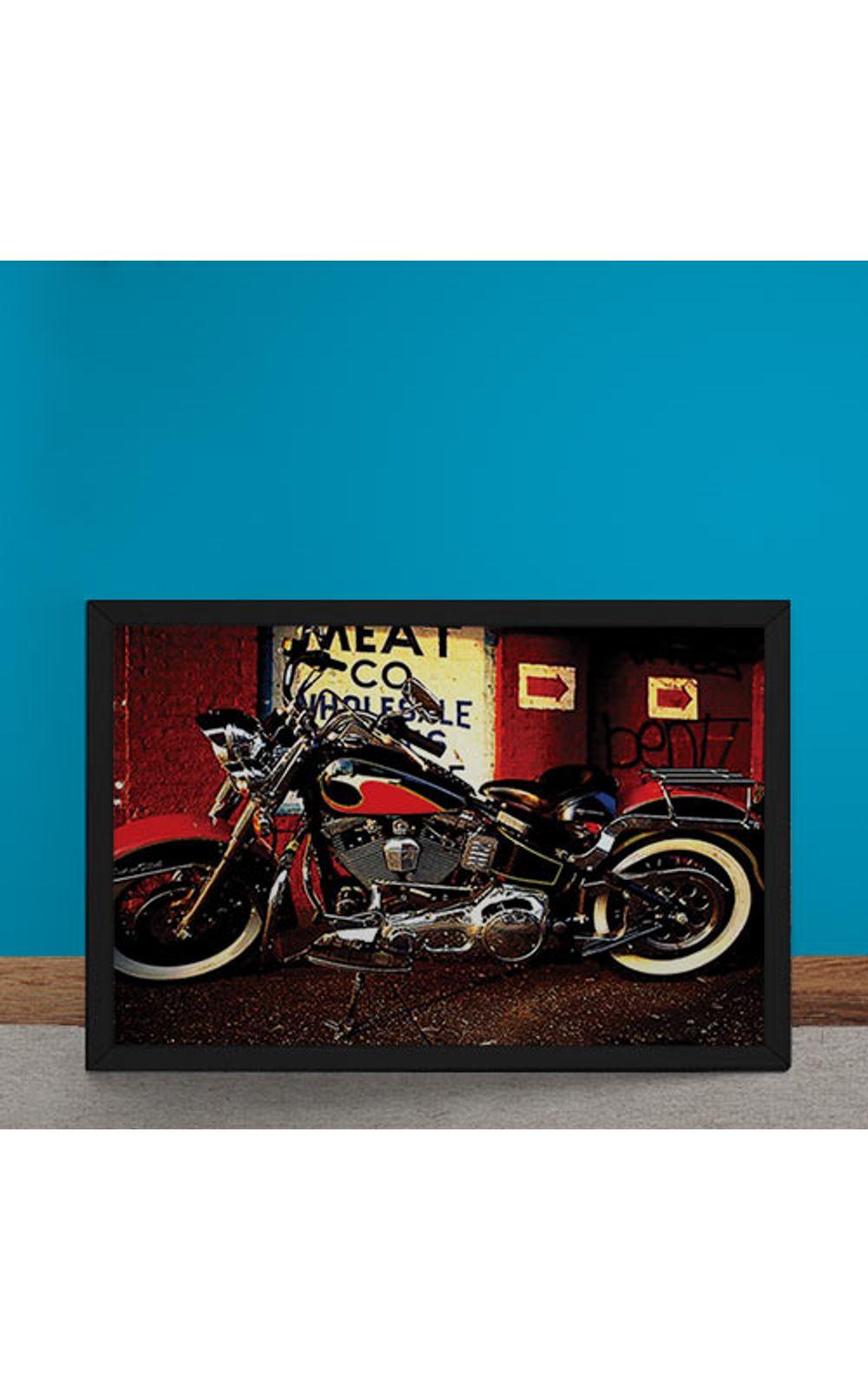 Foto 6 - Quadro Decorativo Moto Custom Vermelha