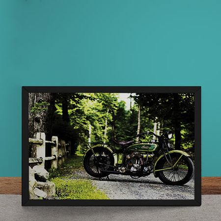 Quadro Decorativo Moto Custom Verde