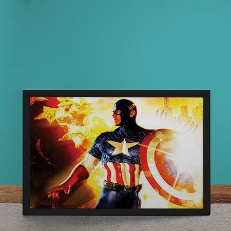 Quadro Decorativo Capitao America Marvel Fogo