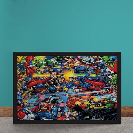 Quadro Decorativo Marvel Versus DC Comics Quadrinhos