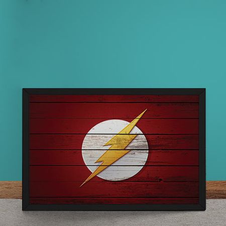 Quadro Decorativo The Flash Logo Mural Minimalista DC Comics