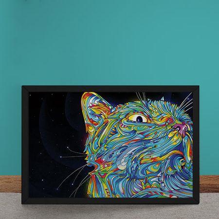 Quadro Decorativo Gato Psicodelico