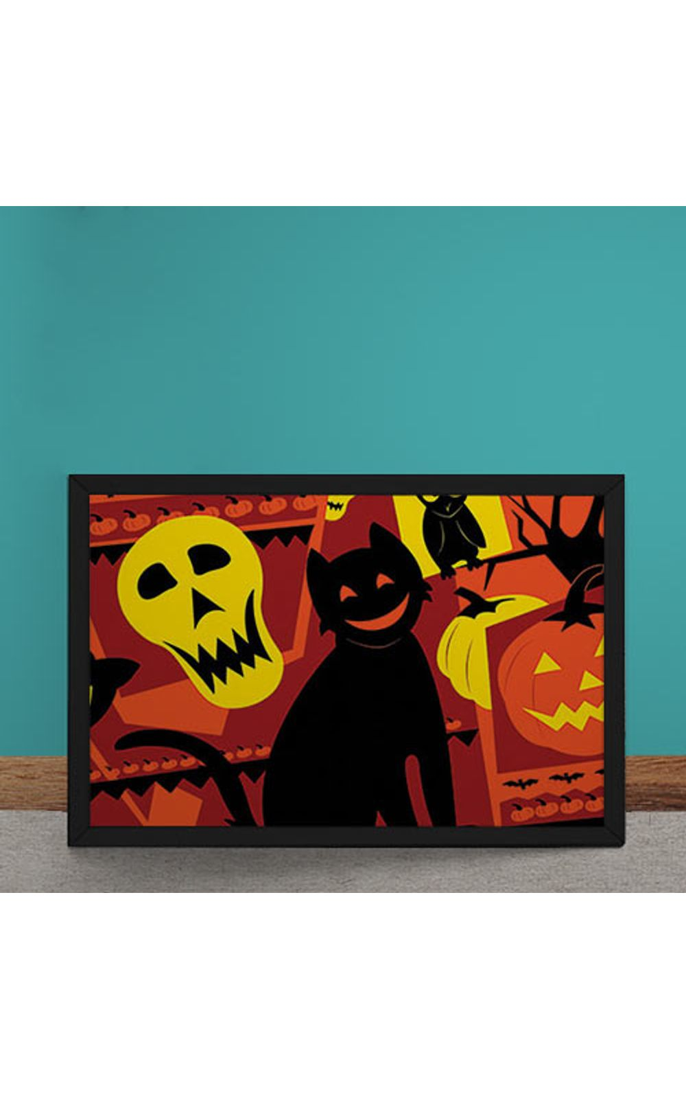 Foto 1 - Quadro Decorativo Gato Halloween