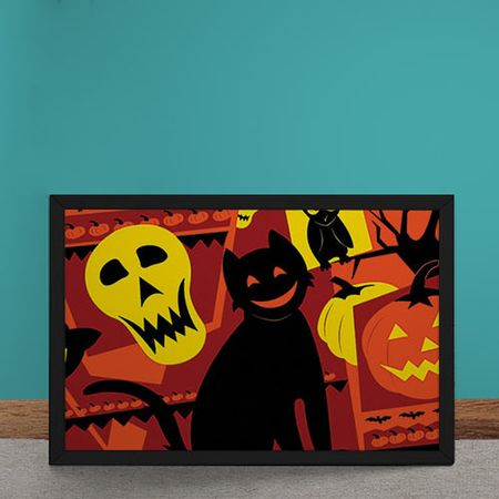Quadro Decorativo Gato Halloween