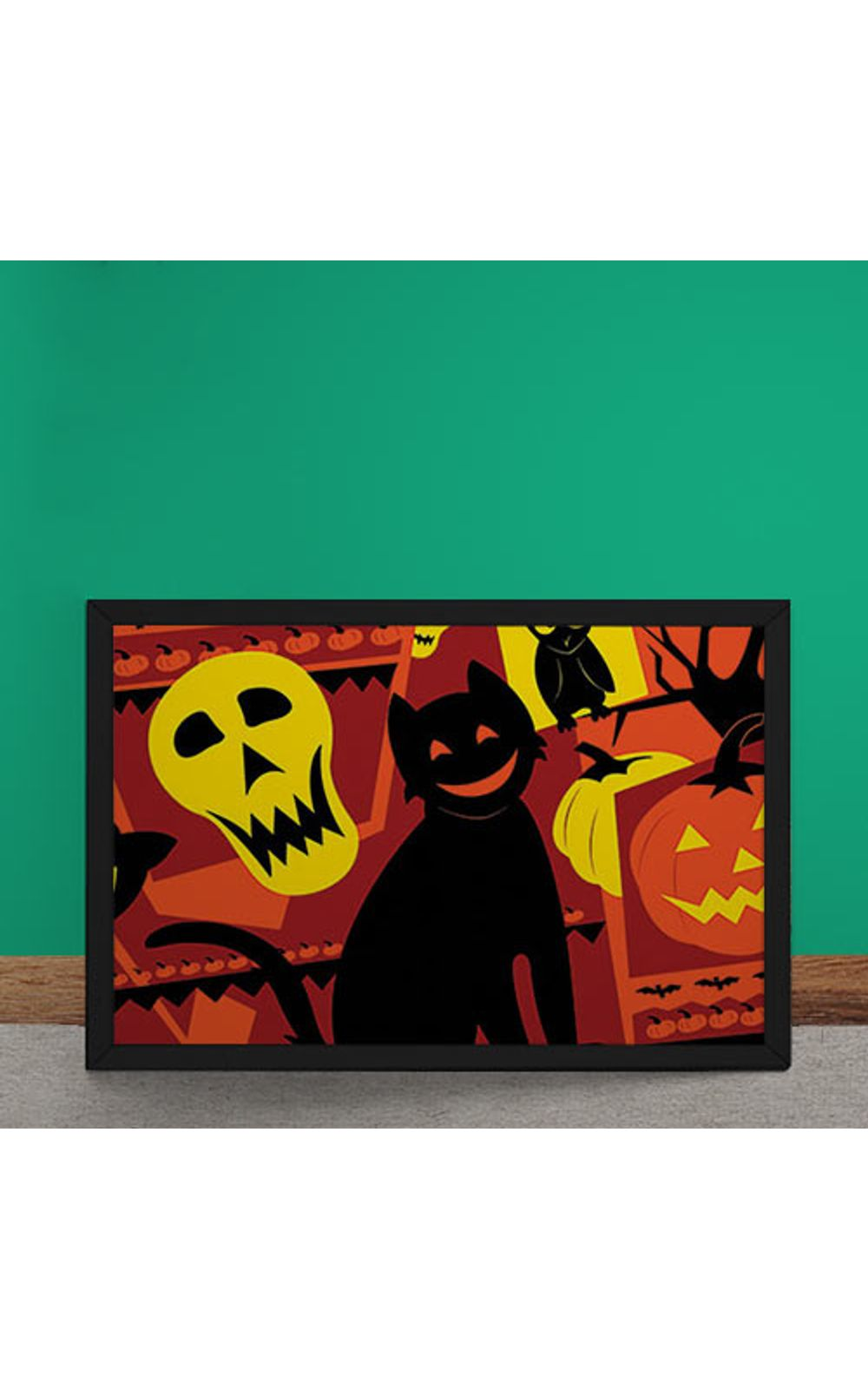 Foto 2 - Quadro Decorativo Gato Halloween