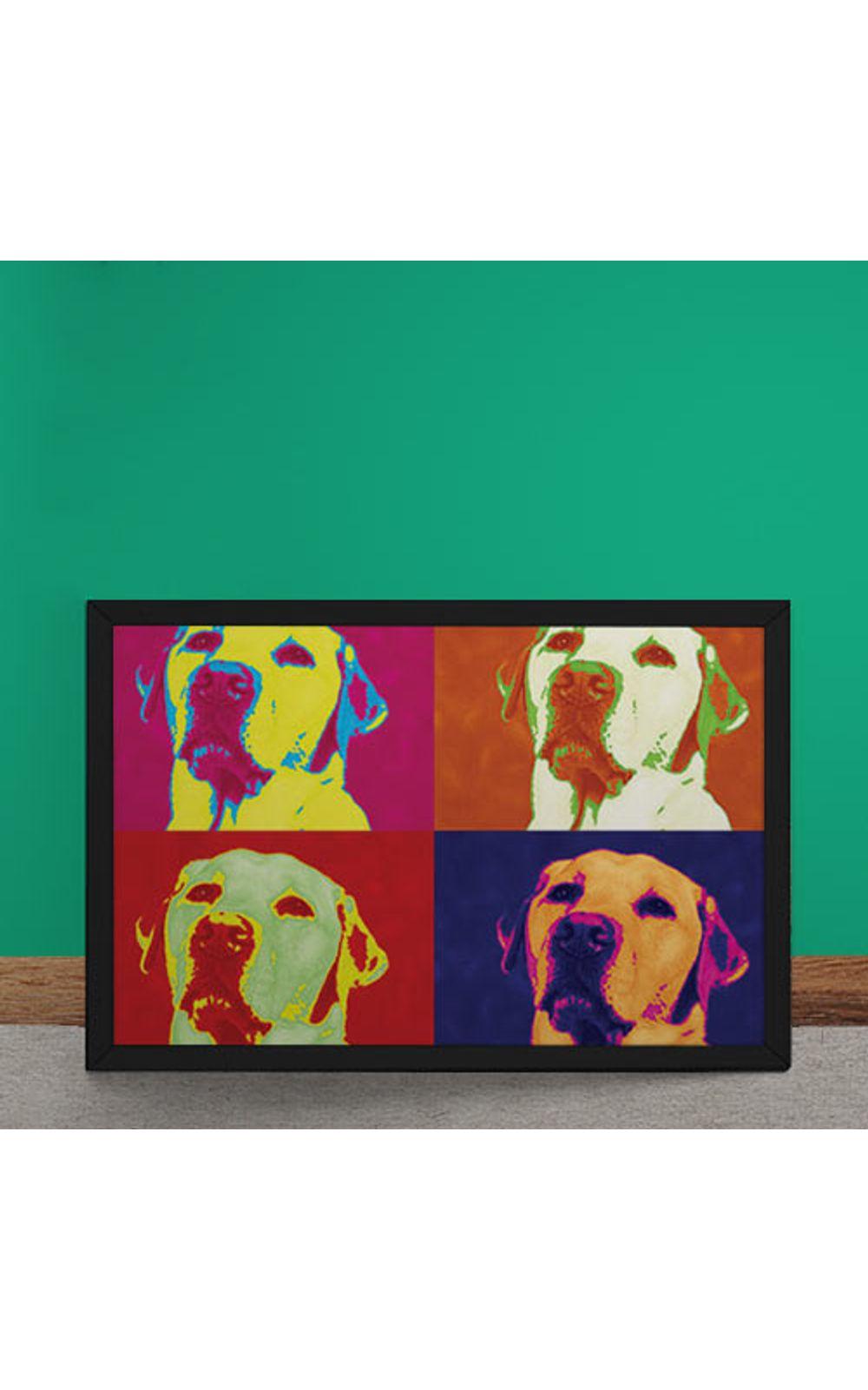 Foto 2 - Quadro Decorativo Andy Warhol Pop Art Cachorro Labrador