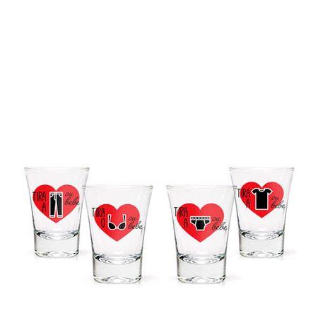 Jogo Copos de Tequila Strip Shot - 4 copos