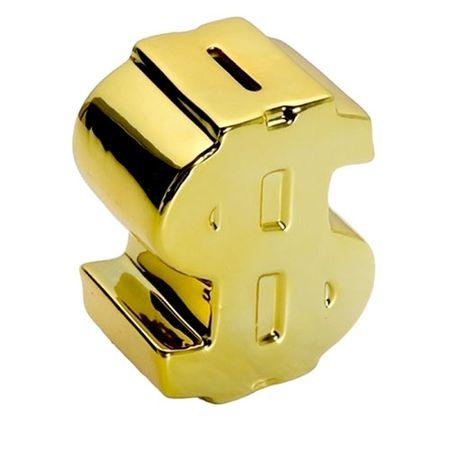 Cofrinho Cifrão Dólar Dinheiro Dourado