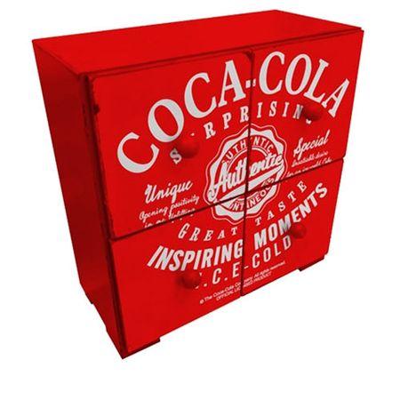Gaveteiro de Mesa Coca Cola Vintage Vermelho