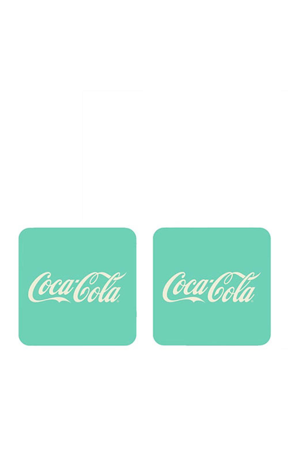 Foto 2 - Kit Jogo Americano e Porta Copos Coca Cola Moderno Verde - 4 Peças