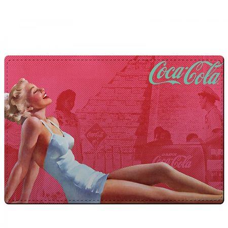 Kit Jogo Americano e Porta Copos Coca Cola Pin Up Vermelho - 4 Peças