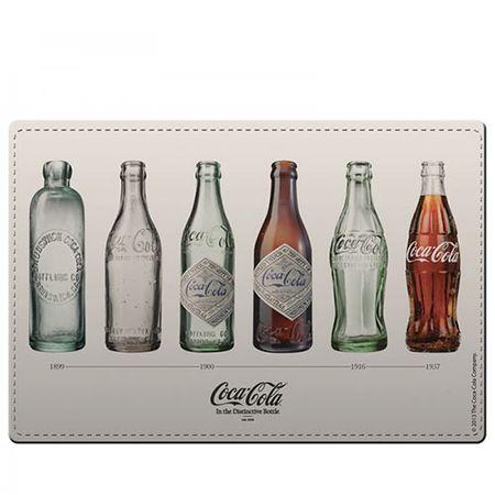 Kit Jogo Americano e Porta Copos Coca Cola Tipos de Garrafas - 4 Peças