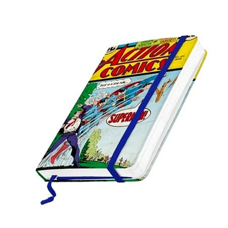 Caderno de Anotação com Elástico Super Homem Quadrinhos HQ DC Comics