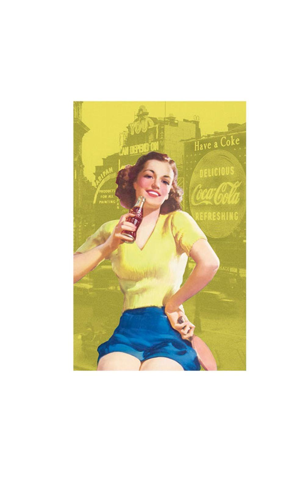 Foto 1 - Pano de Prato Coca Cola Pin Up Amarelo