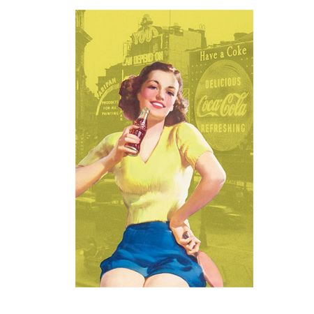 Pano de Prato Coca Cola Pin Up Amarelo