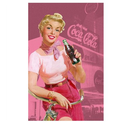 Pano de Prato Coca Cola Pin Up Rosa