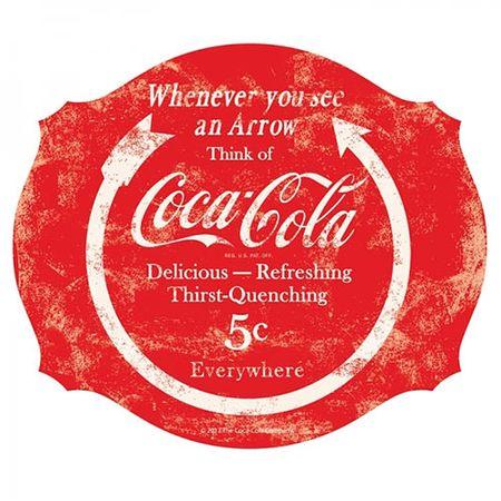 Placa Coca Cola Círculo e Flecha Vermelho
