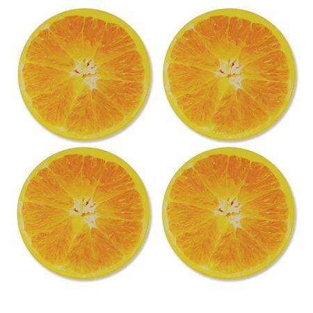 Porta Copos Fatias de Laranja Fruta - 4 peças