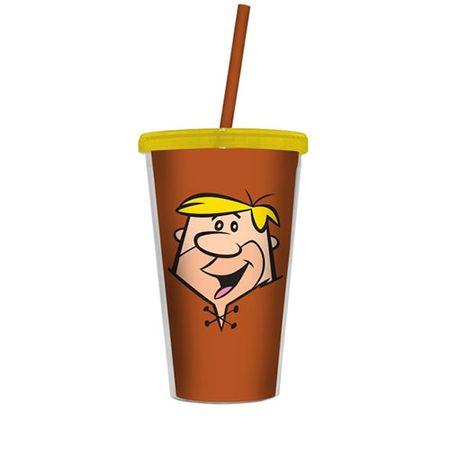 Copo com Canudo Barney Flintstones