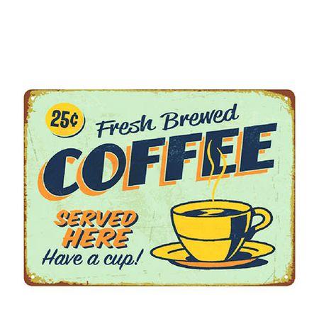 Placa Decorativa em MDF Fresh Brewed Coffe Café