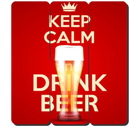 Placa Decorativa em MDF Ripado Keep Calm and Drink