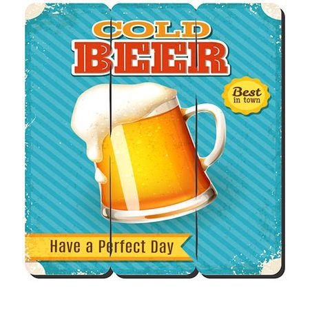 Placa Decorativa em MDF Ripado Cold Beer Cerveja Gelada