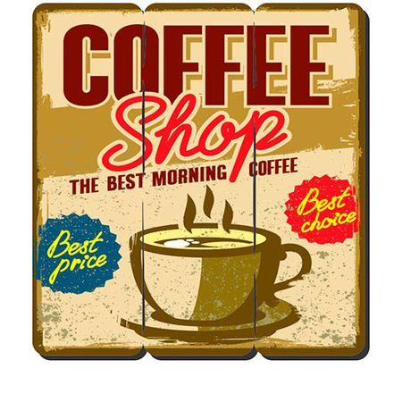 Placa Decorativa em MDF Ripado Café Coffee Shop