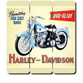 Placa Decorativa em MDF Ripado Moto Harley Davidson DUO