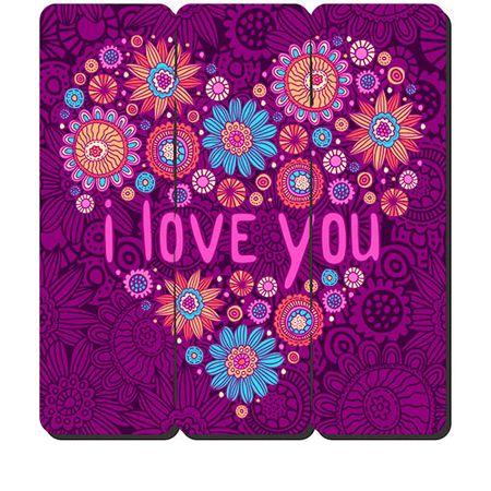 Placa Decorativa em MDF Ripado Love You Amo Voce Amor